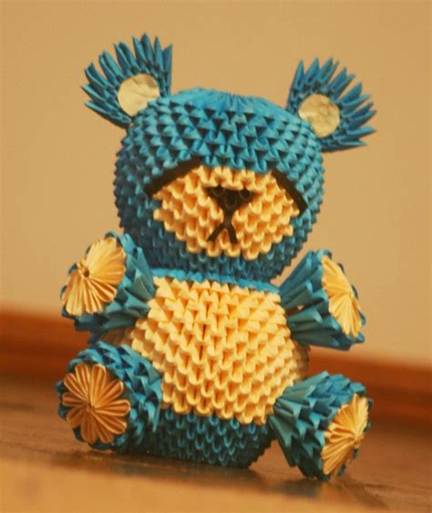 3d Origami Teddy - 3d origami sad blue by onelonetree on deviantart