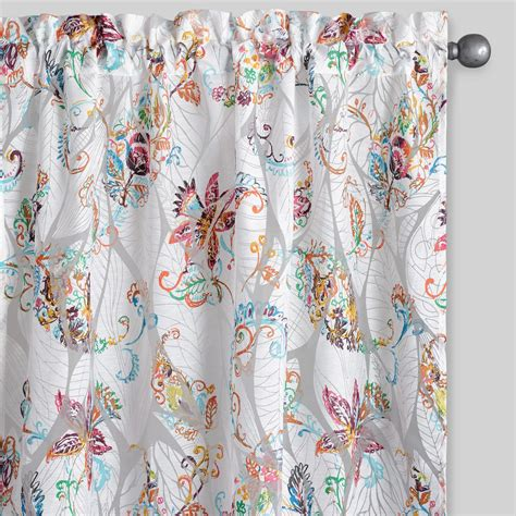 floral drapes floral sheer burnout curtains set of 2 world market