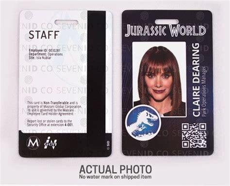 prop id card template jurassic world park replica prop id badge card