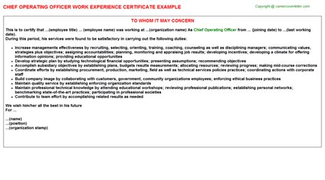 Chief Operating Officer Cover Letter by Chief Operating Officer Work Experience Certificate Sle Descriptions And Duties