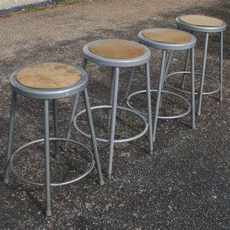 Industrial Metal Bar Stool 1 Vintage Industrial Age Metal Bar Stool Ebay