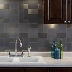 kitchen backsplash stick on aspect 3x6 inch brushed stainless long grain metal peel
