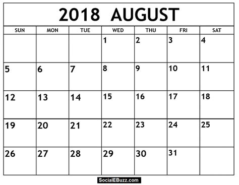 table calendar 2018 template free august 2018 calendar printable template with holidays pdf