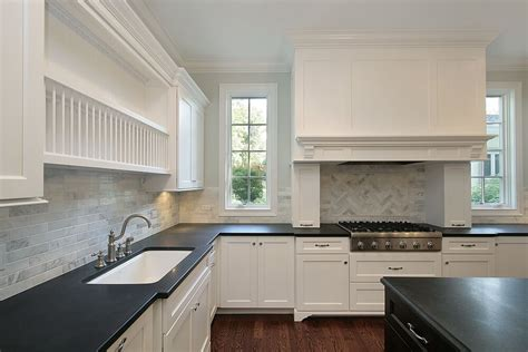 36 Quot Brand New Quot All White Kitchen Layouts Designs Photos Kitchens With Black Countertops