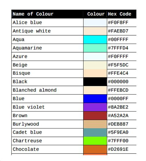 html color chart 26 color chart templates sle templates