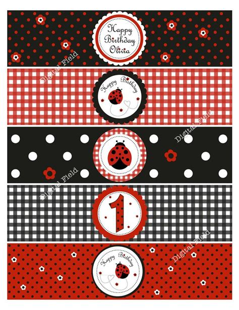 free printable ladybug birthday decorations ladybug water bottle labels diy printable birthday party