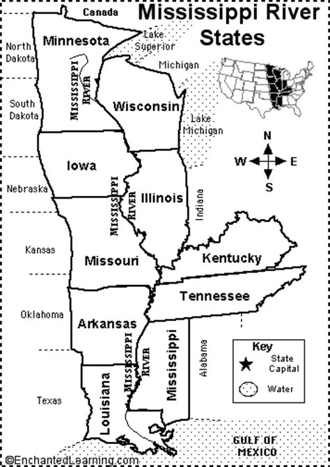 us map showing states and mississippi river mississippi river states map quiz printout