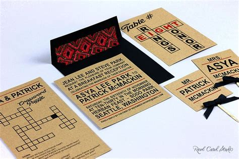 wedding announcement in crossword crossword themed invitation and seating cards by real card