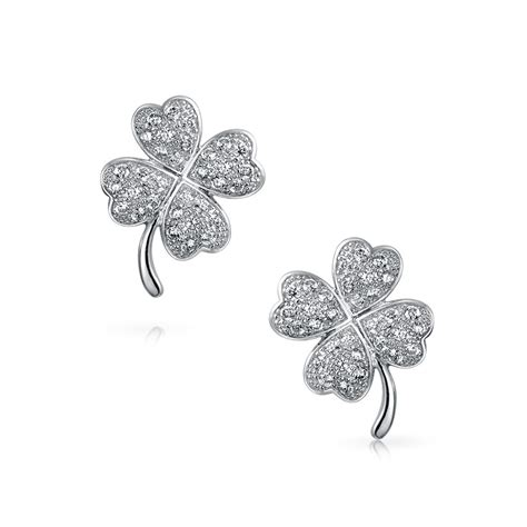 cz luck four leaf clover pave stud sterling silver