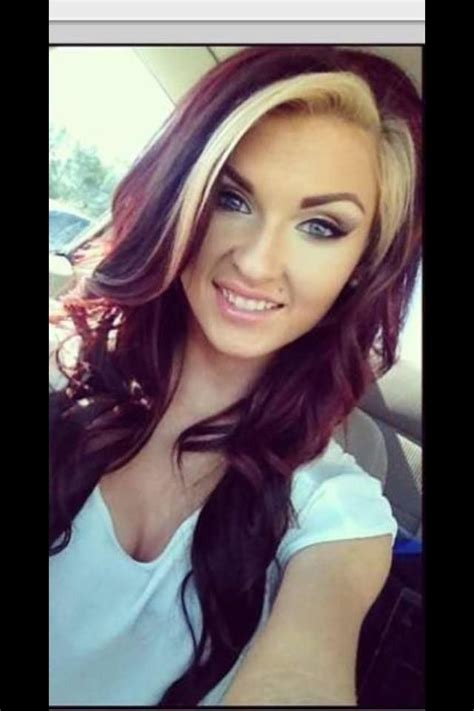 highlights for front sides only for dark brown hair deep mahogany with blonde side bang soooo pretty hair