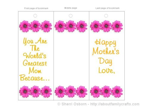 printable bookmarks mother s day printable mother s day bookmark card