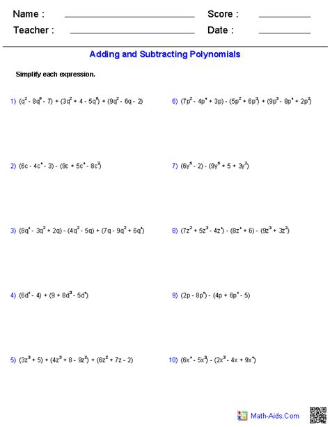 Adding Subtracting And Multiplying Polynomials Worksheet pre algebra worksheets monomials and polynomials worksheets