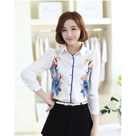 Blouse Shifon Tangan Pendek Kerah Kemeja Korean Style kemeja wanita korea t1874 moro fashion