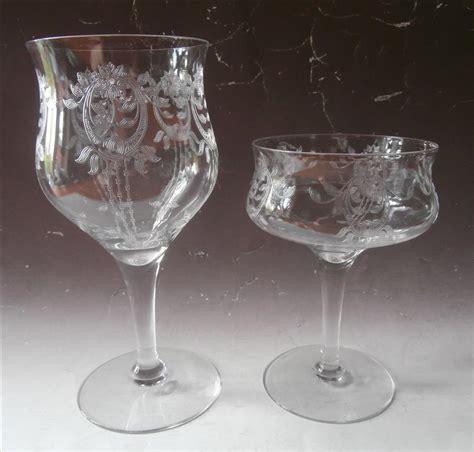 Glassware Stemware 1910s Etched Stemware Antique Transitional Tlc