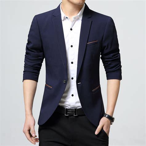 Blazer Jaket Sintetis Casual coat design wedding dress for casual blazer suit jacket wear korean slim fit