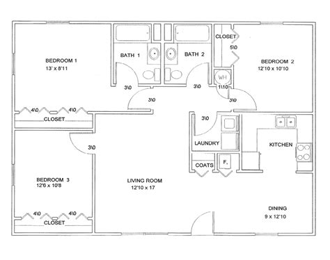 3 bedroom floor plans floor plan 3 bedroom studio design gallery best design