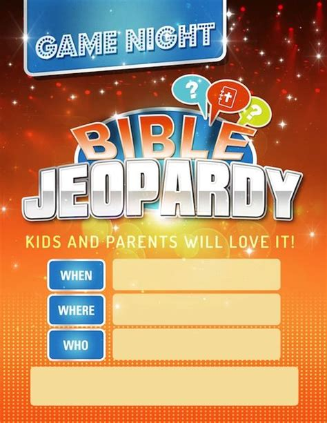 Printable Bible Jeopardy Game Awesome For Sunday School Youth Group Family Night Out Etc Bible Jeopardy Template