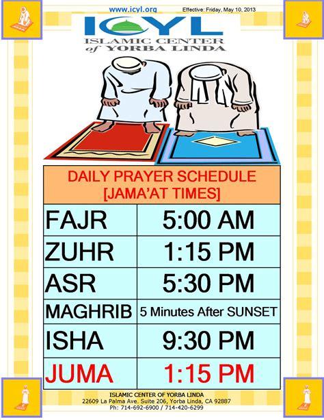 Icyl Daily Prayer Schedule Islamic Center Of Yorba Linda Muslim Prayer Time Table