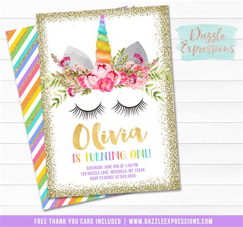 free printable birthday card unicorn printable unicorn face birthday invitation gold glitter