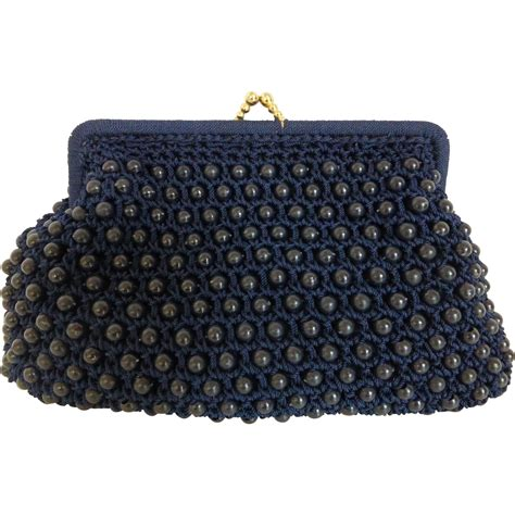 1950 S Navy Blue Plastic Beaded Clutch Purse From