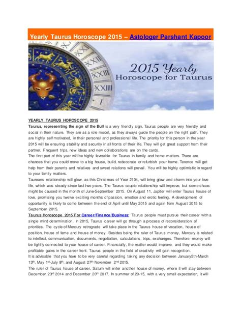 yearly taurus horoscope 2015 astrologer parshant kapoor