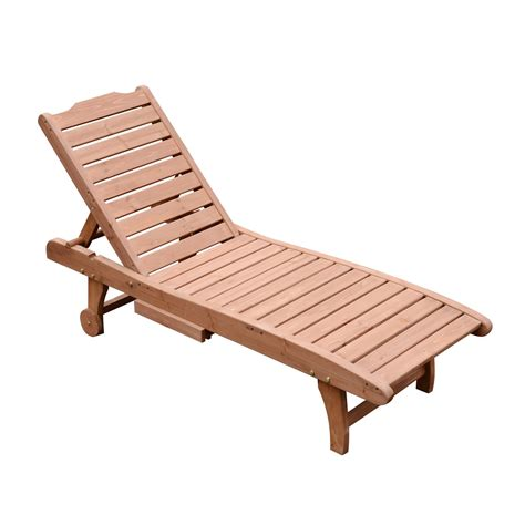Wooden Chaise Lounge Outsunny Wooden Chaise Lounge Outdoor Patio Furniture Adjustable W Pullout Table Aosom Ca
