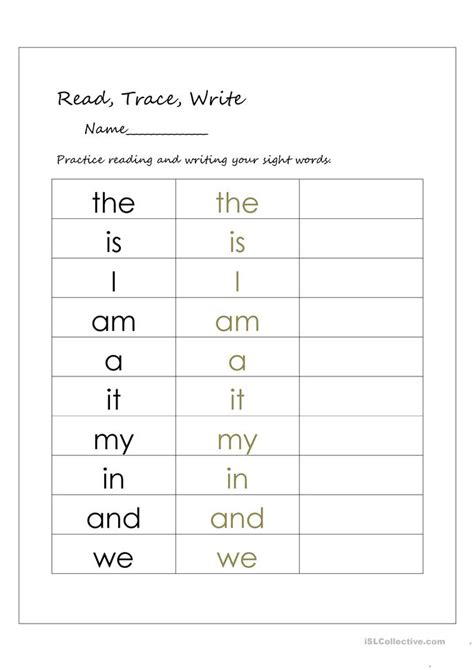Writing Sight Words Worksheets Kindergarten by Read Trace And Write Sight Words Worksheet Free Esl