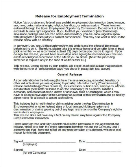 18 Employee Termination Templates Word Pdf Excel Free Premium Templates Termination And Release Agreement Template