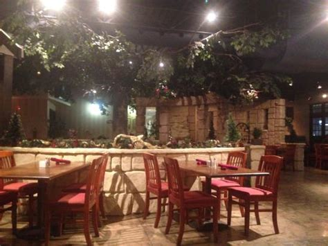 backyard bbq restaurant restaurant with fake tree good idea or not not sure