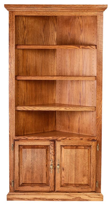 traditional oak corner bookcase alder