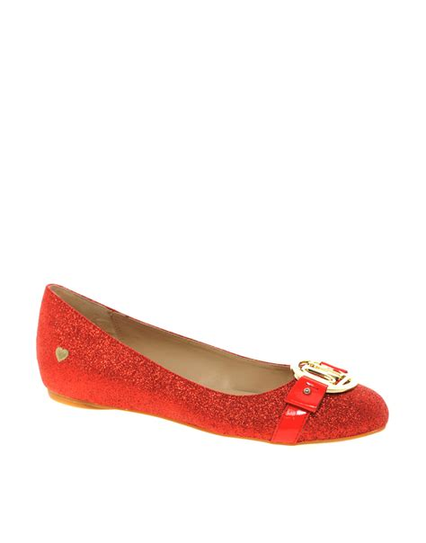 sparkle flat shoes moschino glitter flat shoes in lyst