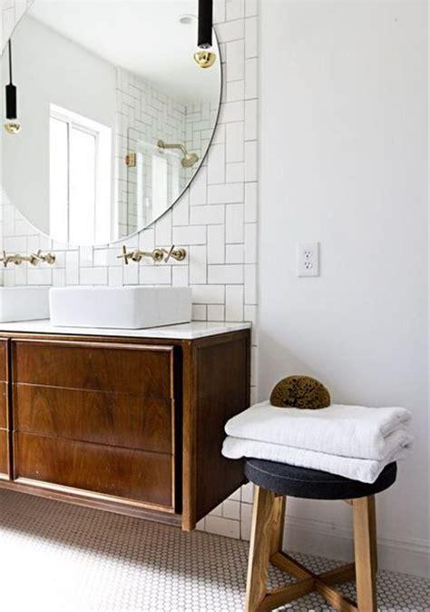 subway tile shower mirrored bathroom partitions modern dark wood vanity round mirror white subway tile hex