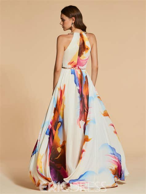 Print Halter Chiffon Dress ericdress a line halter print chiffon evening dress
