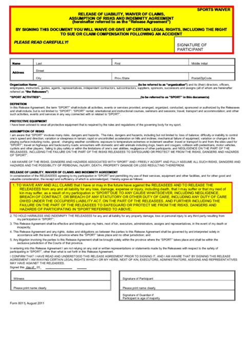 Release Of Liability Waiver Of Claims Assumption Of Risks And Indemnity Agreement Template Risk Waiver Form Template