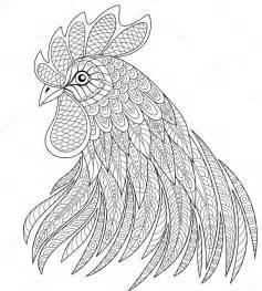 t 234 te de coq en zentangle style symbole de la chinoise