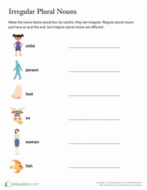 Irregular Plural Nouns Worksheet by List Of Irregular Plural Nouns Worksheet Education