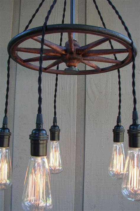 Upcycled Antique Buggy Wheel 5 Light Filament Bulb Wheel Chandelier