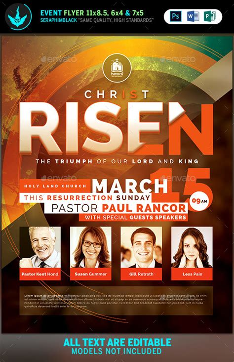 Christ Is Risen Church Flyer Template By Seraphimblack Graphicriver Template For Church Flyer