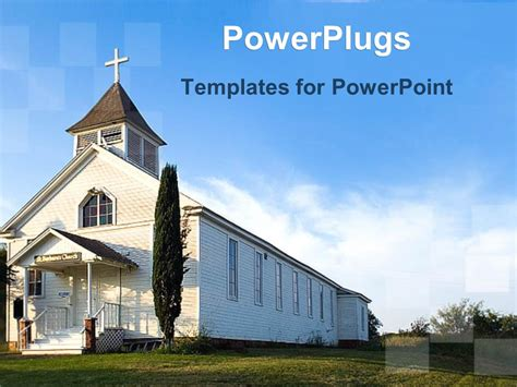 Powerpoint Template Old White Country Church With Green Field 25195 Church Templates