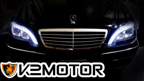 mercedes s class headlights k2motor installation video 1998 2006 mercedes benz s
