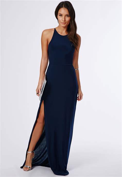 Clutch Trendy Dress Blue s navy slit maxi dress silver leather heeled