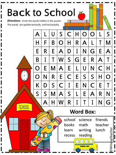 Search By School Back To School Word Search Easy By Windupteacher
