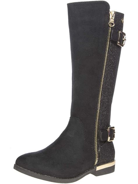 xti footwear glitter back knee high boots with buckles