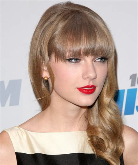 blunt bangs hairstyles blonde images taylor swift long wavy casual hairstyle with blunt cut