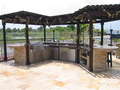 used lumber outdoor kitchen with pergola 2387