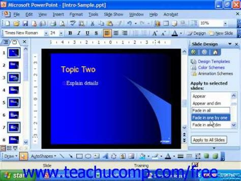 tutorial powerpoint 2003 romana powerpoint 2003 tutorial applying animation schemes