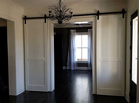 Home Interior Decoraition With Double Sliding White Barn Interior Barn Style Sliding Door
