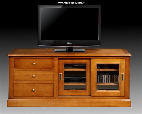 Beau Meuble Support Tele Ecran Plat #2: Meuble-tv-merisier-portes-coulissantes-3-tiroirs_5208.jpg