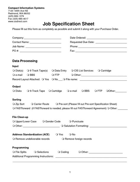 best photos of job specification template sle job