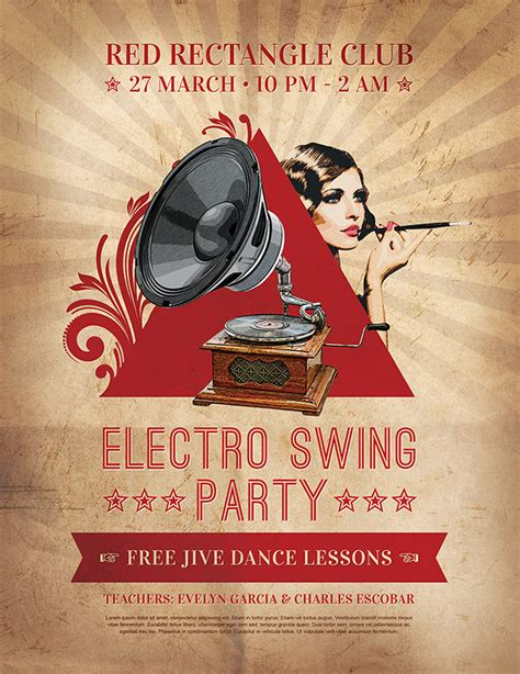 electro swing party 25 creative and inspirational flyer designs